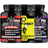 Angry Supplements Monster Test MAXX Testosterone Booster + Angry Energy + Monster PM 3-Bottle Bundle - Maximum Strength Power Pack for Men, Non-GMO Pills for Day & Sleep Aid for Night (3-Pack,210ct)