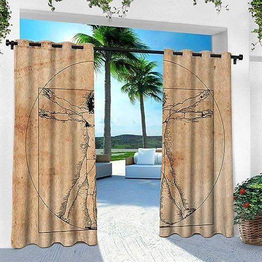 Hengshu Holiday, Cortina de privacidad para el Aire Libre para Pergola, ilustración Moderna de una Playa Tropical con Palmeras y Hamaca Hawaiian Relax Azul y Blanco: Amazon.es: Jardín