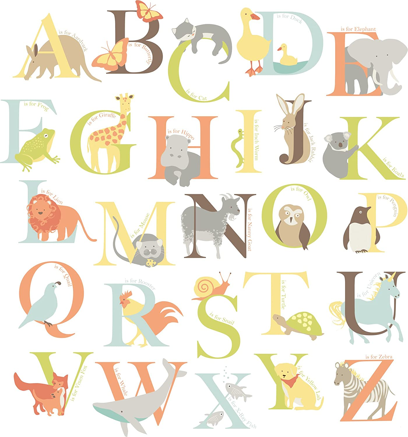 Wall Pops WPK0835 WPK0835 Alphabet Zoo Kit Baby Wall Decals   Decorative  Wall Appliques   Amazon.com