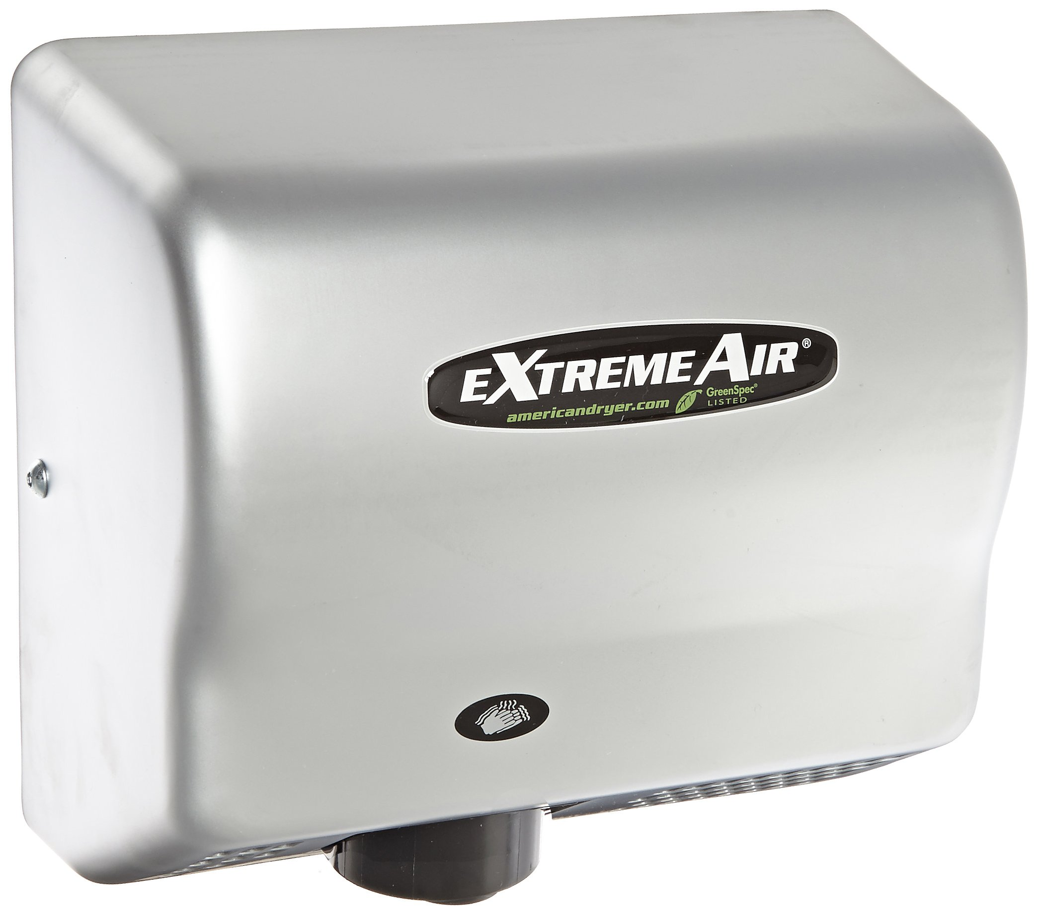 American Dryer ExtremeAir GXT9-C Steel Cover High-Speed Automatic Hand Dryer, 10-12 Second Dries, 100-240V, 1,500W Maximum Power, 50/60Hz, Satin Chrome Finish