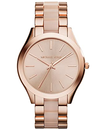 470eb3f993f0a Amazon.com  Michael Kors Women s Slim Runway Rose Gold-Tone Watch ...