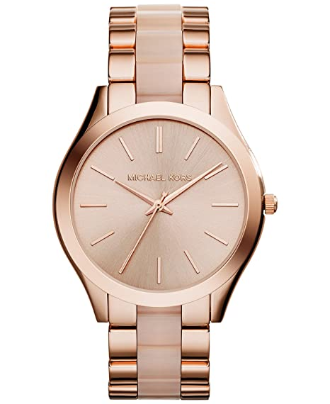 fb7d47845572 Image Unavailable. Image not available for. Colour  Michael Kors Women s  Slim Runway Rose Gold-Tone ...