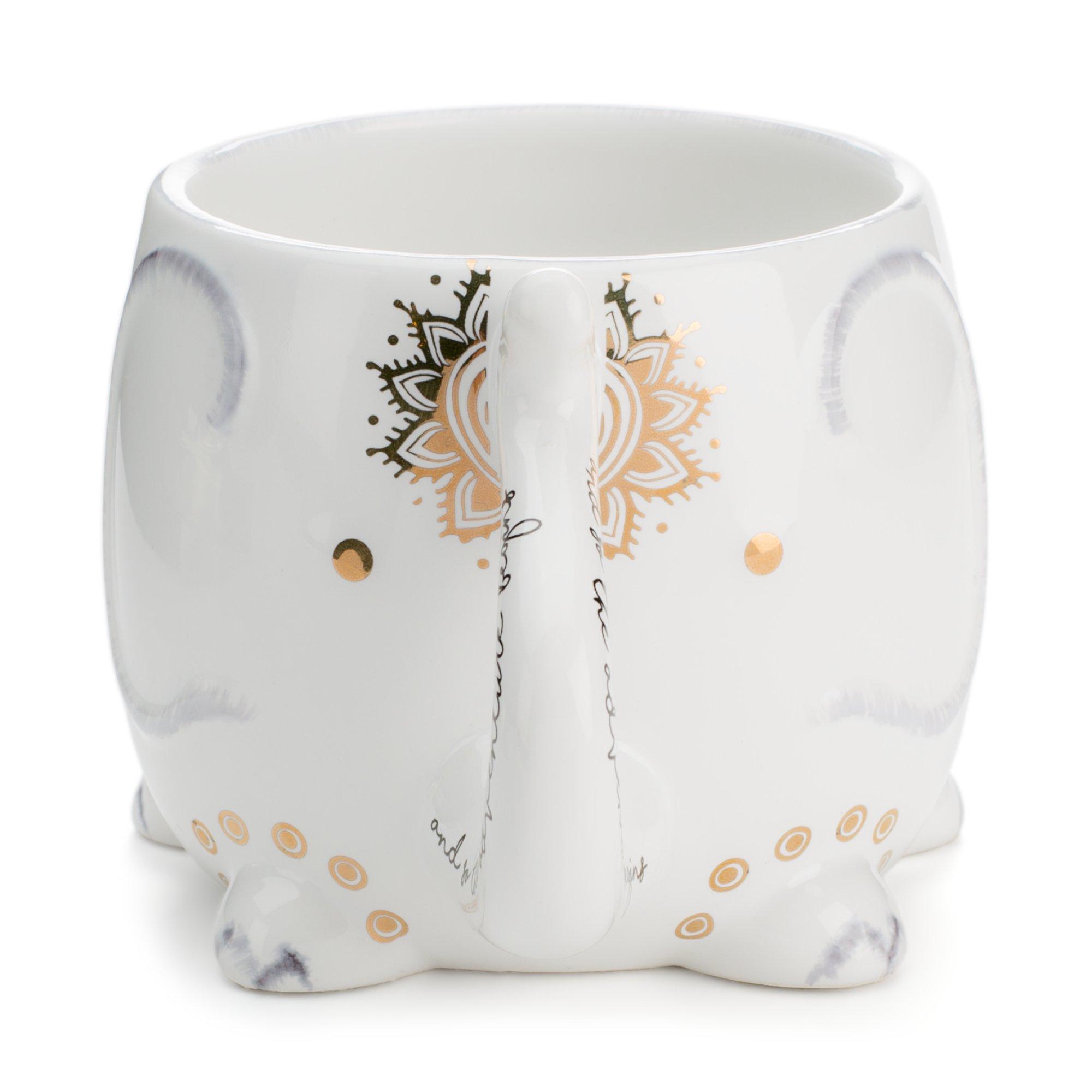 White Ceramic Coffee or Tea Mugs: Tri-Coastal Design Soho Boho Elephant Coffee Mug with Gold Foil Details, Fun Trunk Handle and Printed Saying - 18.6 Fluid Ounce Large, Cute Handmade Cup by Tri-coastal Design (Image #2)