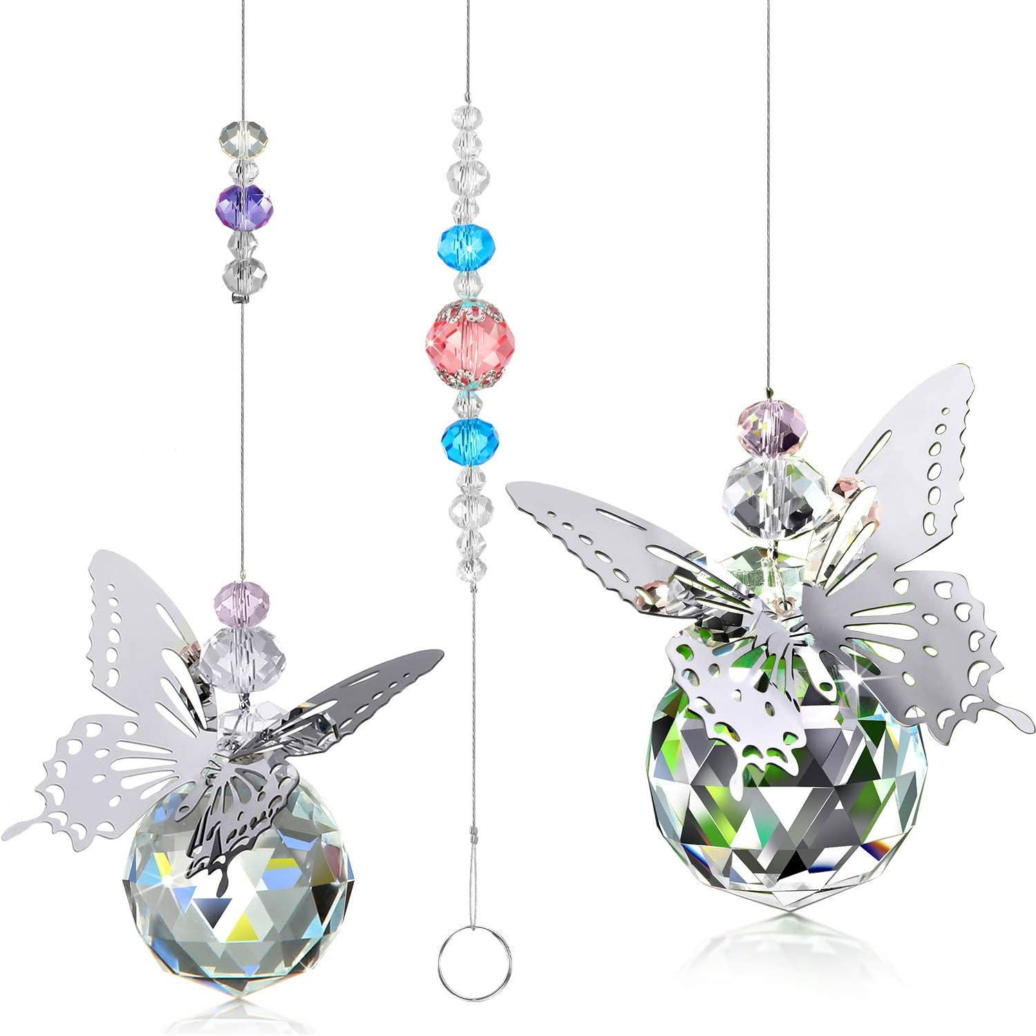 WILLBOND 2 Pieces Colorful Butterfly Pendant Crystal Ball Prism Suncatcher Glass Crystal Ball Chakra Suncatcher with Beads Hanging Crystals/ Window Ornament/ for Home Office Garden Decoration