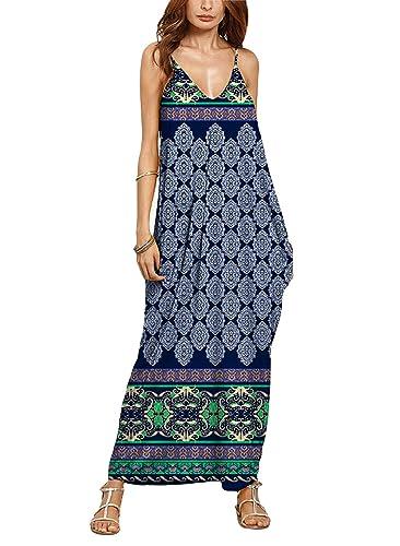 XIMAN Women's Boho Floral Print V Neck Spaghetti Strap Long Maxi Dress Sundress