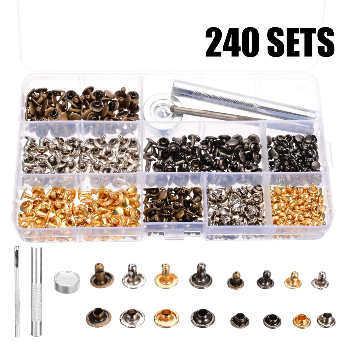 Ants-Store - 240 Sets Leather Craft Double Cap Repairing Rivets Tubular Snaps Fastener Button Press Metal Studs Fixing Tools Kit