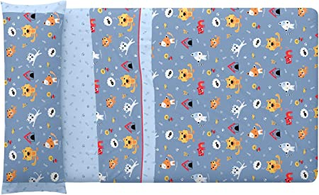 Burrito Blanco 164 Juego de Sábanas de 105 Infantiles con un Diseño de Pequeños Animalillos sobre Fondo Azul. Tejido 50% Algodón-50% Poliéster. Fácil Planchado. Taco Suave. Bajera Ajustable.: Amazon.es: Hogar