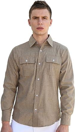 Sourcingmap - Camisa para hombre con botones y cuello de punto de bloque de color: Amazon.es: Ropa y accesorios