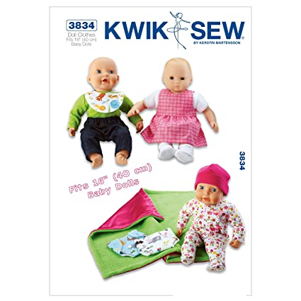 Amazon.com: Kwik Sew K3834 Doll Clothes Sewing Pattern, Size Fits 16 ...