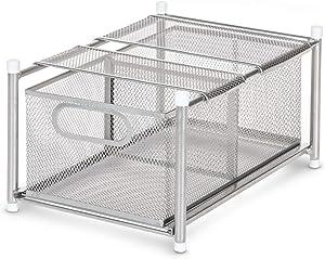 Home Zone Living Tabletop Kitchen Basket Organizer, Pull Out Shelf, Horizontal Storage (Satin Nickel)