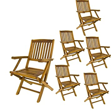 Edenjardi Pack 6 sillones de jardín Teca Plegables | Madera Teca Grado A | Tamaño: 54x57x88 cm| Tratamiento al Agua aplicado | Portes Gratis