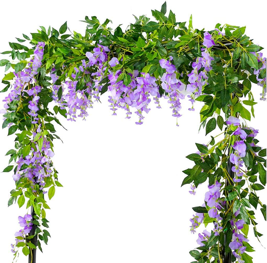 Lannu 6.6FT 2 Pack Artificial Wisteria Flowers Fake Garland Hanging Silk Ivy Vine Wedding Party Home Garden Wall Decoration, Lavender
