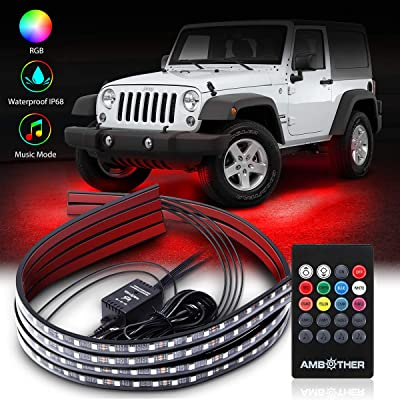 AMBOTHER Car Underglow Lights Waterproof Exterior 2-in-1 Design Wireless Remote Control with Sync Music Neon Under Glow Car Lights Strips Kits for Cars Trucks: Automotive