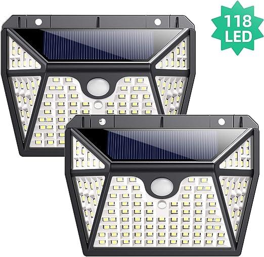 Luz Solar Exterior, Ekrist【Iluminación de 5 Lados】118 LED Luces Solares Foco Solar Exterior con Sensor de Movimiento, 270°Gran Angular Impermeable Lampara Solar Exterior Para Jardín 2-Paquete: Amazon.es: Iluminación