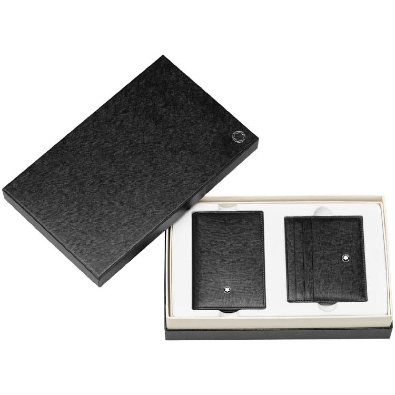 Montblanc business card holder and Pocket Holder Black Leather Gift Set 116852