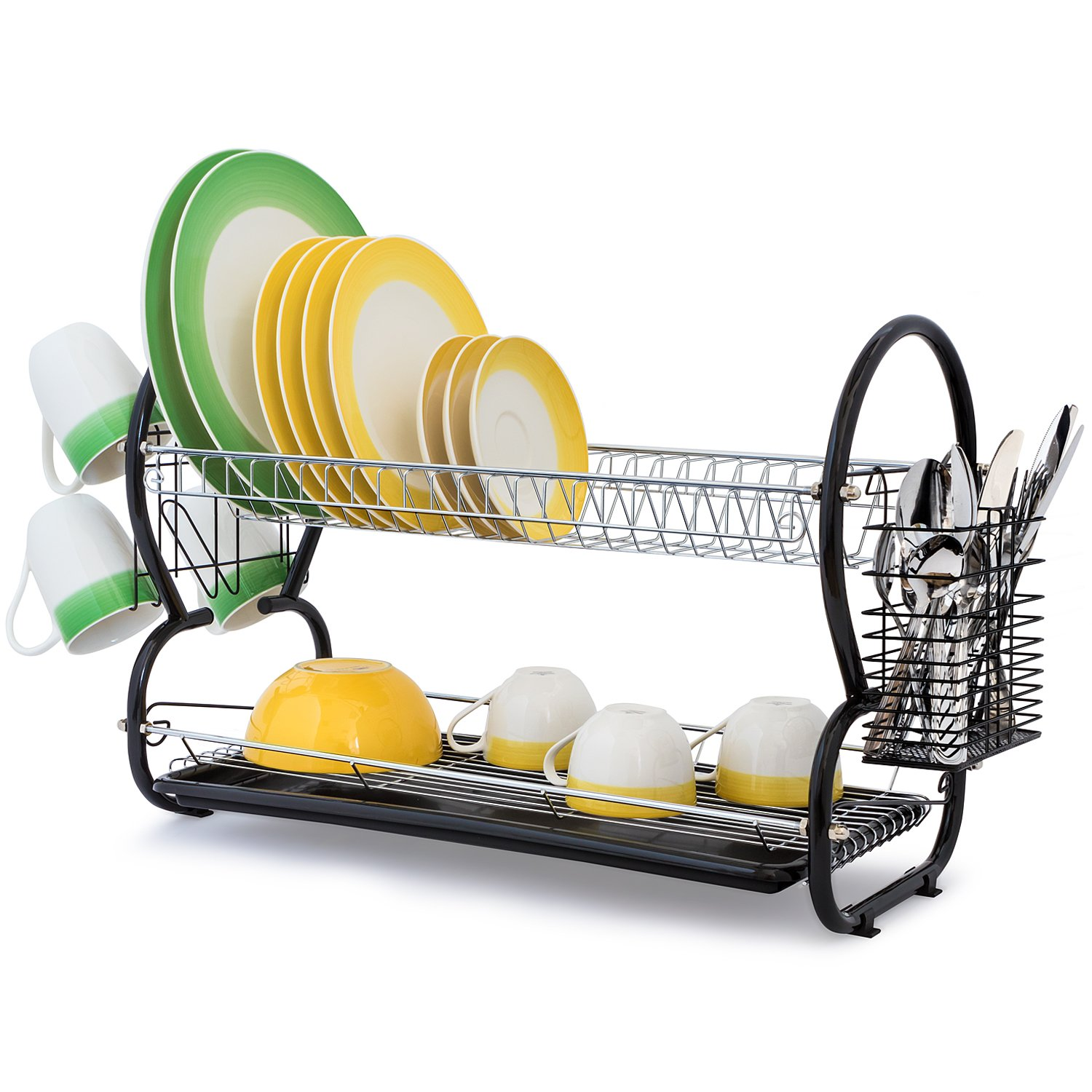 Artmoon Desert Large Dish Drainer Drying Rack 2-Tier Mugs and Cutlery Holder Removable Tray, Chromed Steel