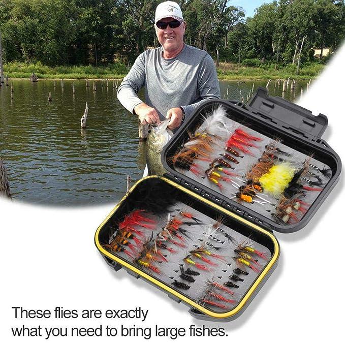 BAODANH 72 St/ück Fliegenfischen Fliegen Sortiment Forellen Fliegenfischen Fliegen Wet Dry Flies Lures