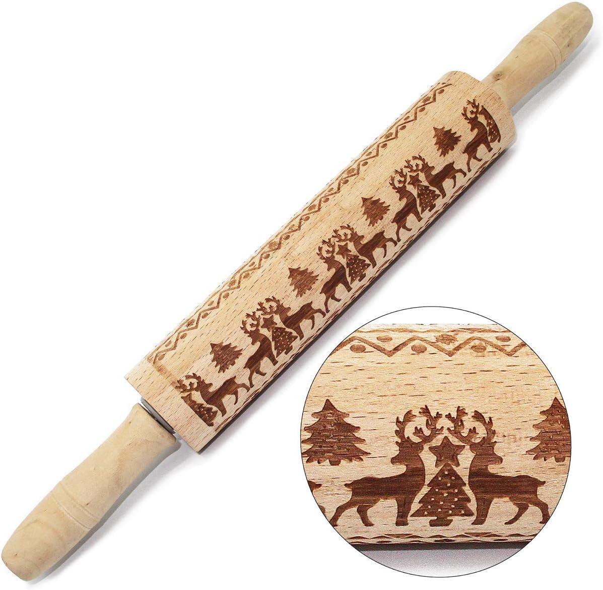 Christmas Wooden Rolling Pin,Awakelion Premium Beech Wood Engraved Embossing Pin