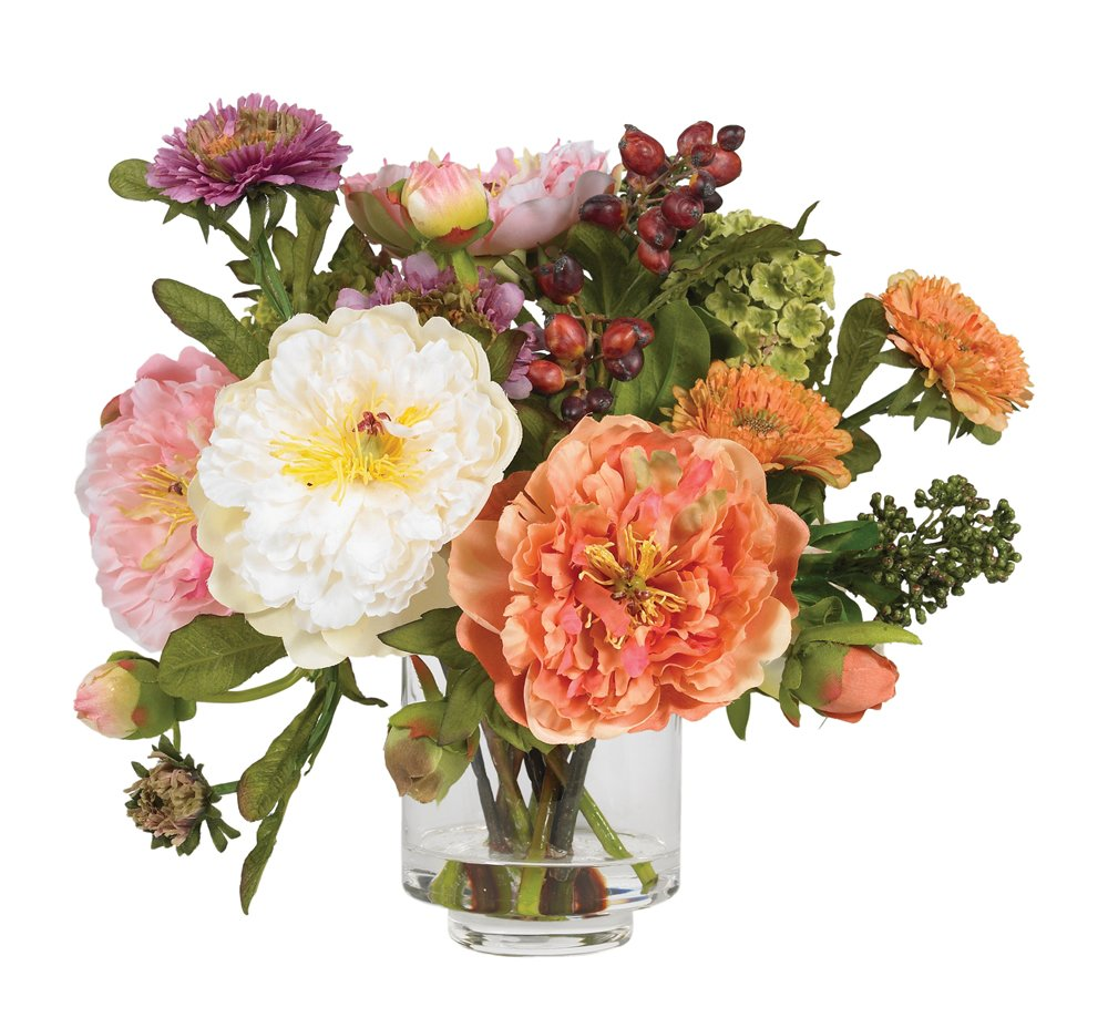 Nearly Natural 4689 Peony Silk Arrangement,  with Clear Vase