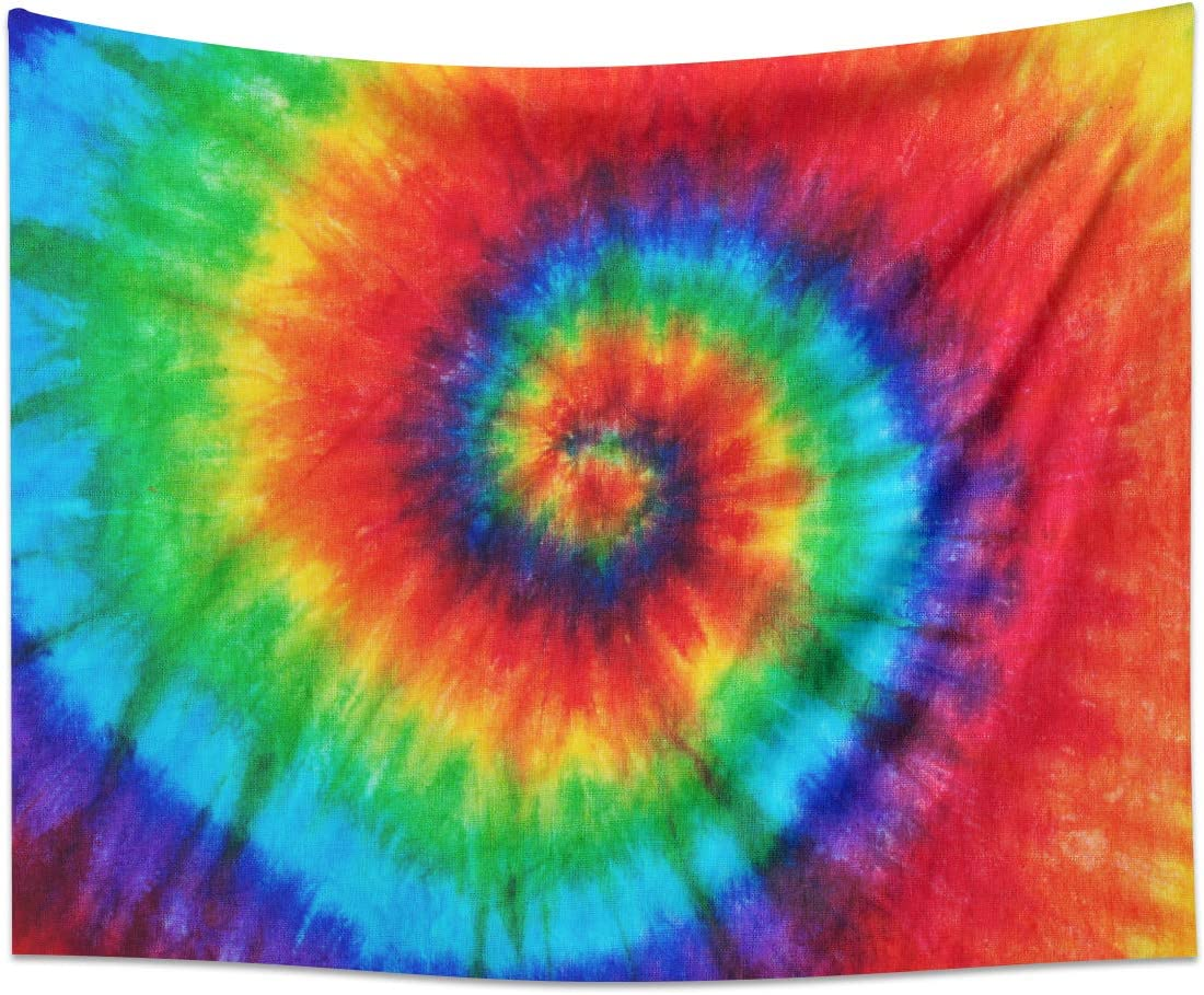 Kikiry Tie Dye Tapestry Rainbow Pattern Color Dyed Batik Spiral Colorful Wall Hanging Black Tapestry Bedroom Living Room Dorm Polyester Fiber Home Decor 51x59 Inch
