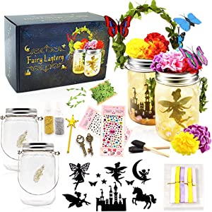 Biliqueen Fairy Lantern Craft Kit for Kids DIY Fairy Night Light Jar Arts and Crafts for Girls Make Your Own Decor Craft Project Party Birthday Easter Gifts (Fairy Lantern 2 Pack)