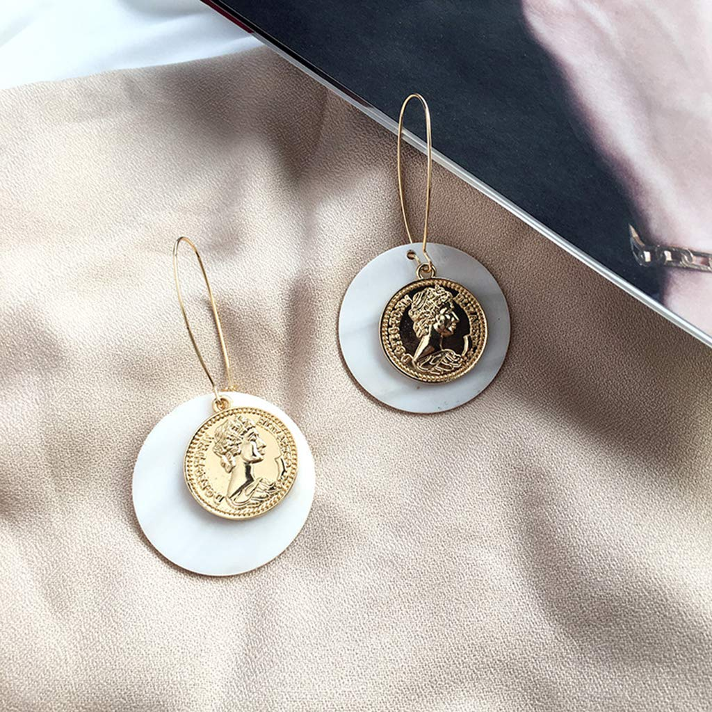 HittecH Creative Shell Earrings Natural Coin Exquisite Luxury Golden Carved Coins Women Lady Jewelry Charms Party Wedding Decoration Gifts Girls Trend Unique Dangle