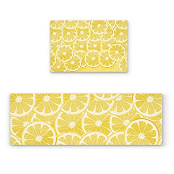 Z&L Home Cute Lemon Kitchen Rug Sets 2 Piece Non-Slip Kitchen Mats and Rugs  Yellow Fruit Decorative Area Runner Rubber Backing Carpets Floor Doormat