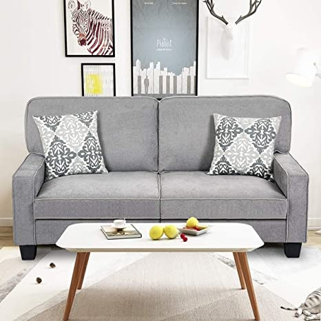 Giantex Futon Sofa Couch Loveseat Fabric Upholstered Removable Back Seat Cushion Modern Home Living Room Furniture Set Bedroom Sofa Bed (Gray)