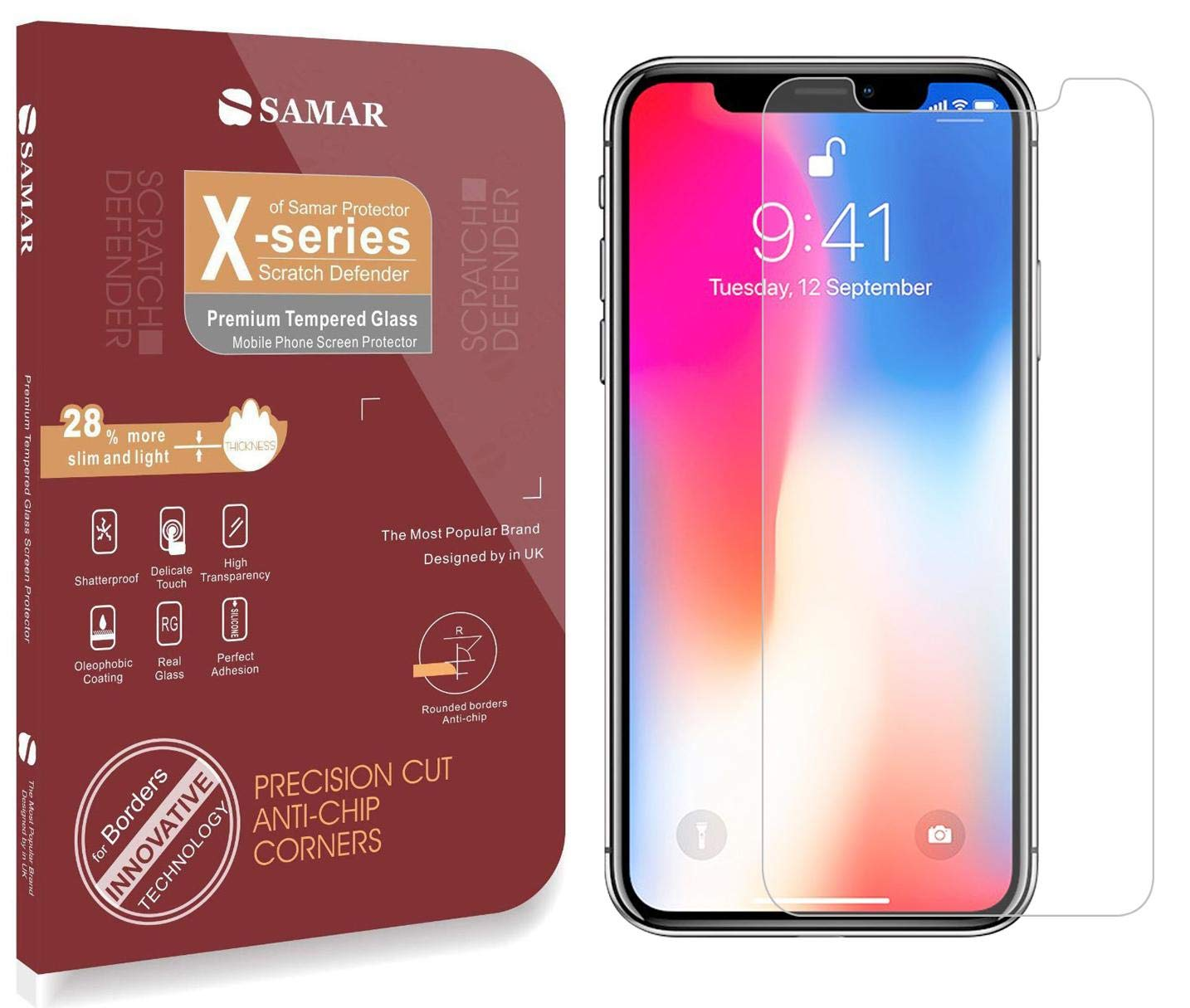online store 25fcf a89c4 SAMAR - Apple iPhone X Tempered Glass Screen Protector [2 in Pack]