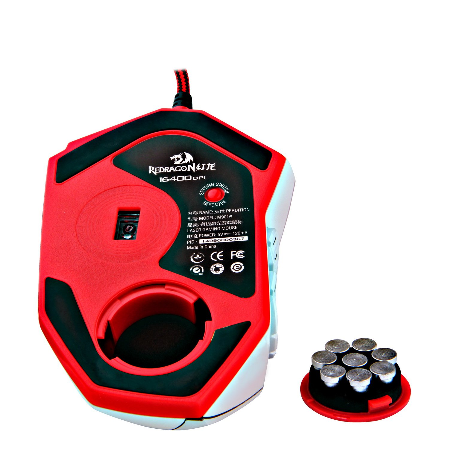 Redragon M901 PERDITION 16400 DPI Programmable Laser Gaming Mouse for PC, MMO, 18 Programmable Buttons, Weight Tuning Set, 12 Side Buttons, 5 programmable user profiles, Omron Micro Switches (White)