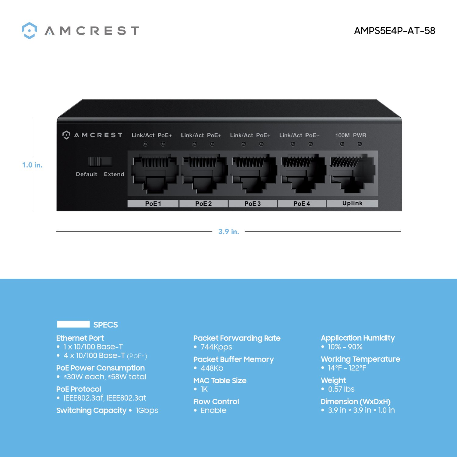 Amcrest 5-Port POE+ Switch with Metal Housing, 4-Ports POE+ Power Over Ethernet Plus 802.3at 58w (AMPS5E4P-AT-58) by Amcrest (Image #4)