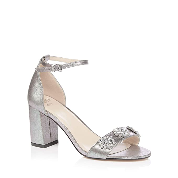 bad7c5ebc7e1f Faith Womens Silver Pink Jewel Encrusted Block Heel Wide Fit Sandals ...