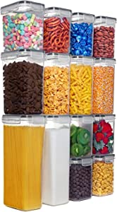 Airtight Food Storage Container Set - Pantry Organization and Storage - 14Pcs - BPA-Free - Pantry Labels & Marker - Cereal Dispenser - Flour Canisters with Lids Ideal for Cereal, Pasta & Sugar