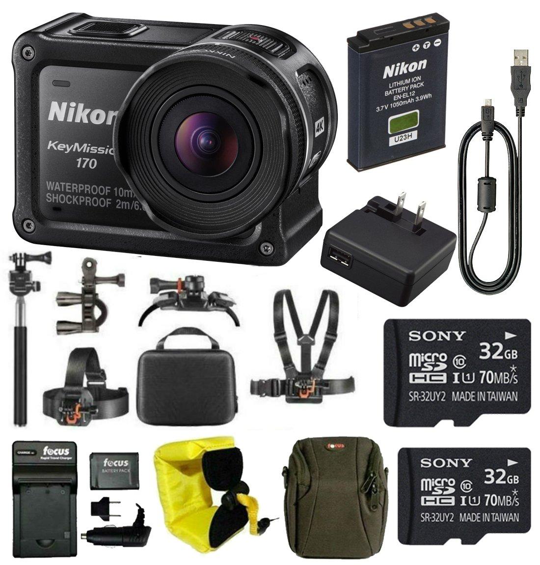 Nikon Keymission 170 Wi-Fi 4K Action Camera with 64GB Kit and Adventure Bundle