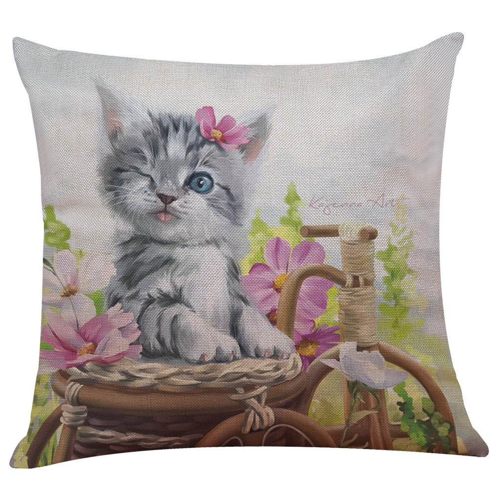 43cm43cm, A Lanhui Cute Elegant Cat for Baby Gift Sofa Bed Home Decoration Festival Pillow Case Cushion Cover