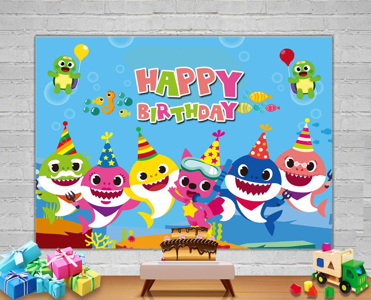 Baby Shark Photography Backdrop Shark Family Underwater World Background Happy Birthday Party Banner Supplies Photo Booth Props 5x3ft