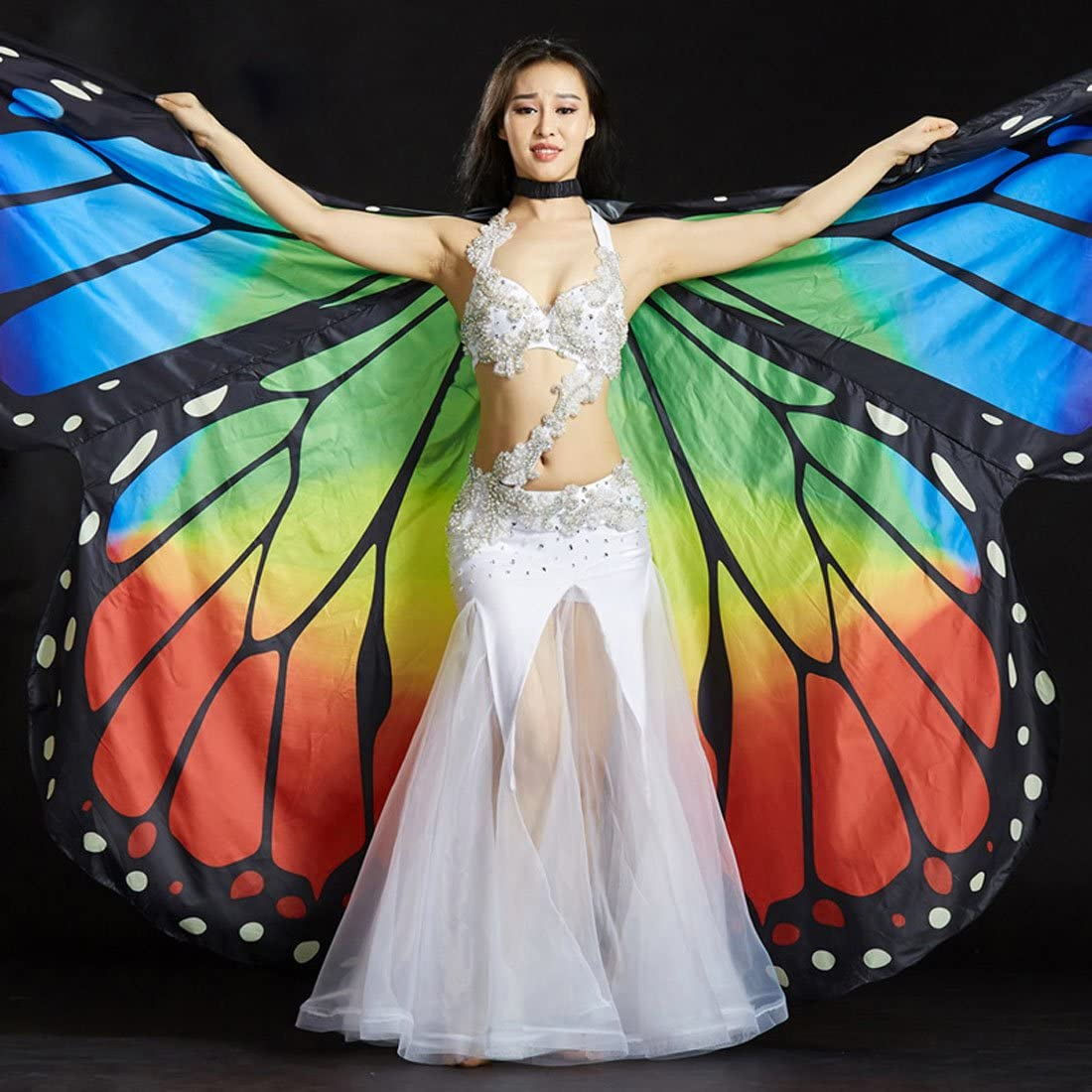 Egypt Dancing Butterfly Wing Shawl Princess Pixie with 2 Telescopic Sticks