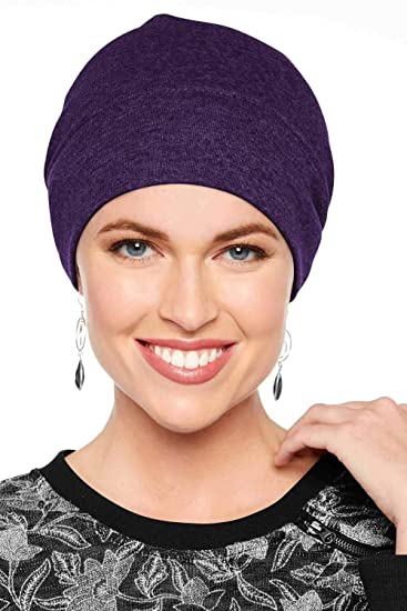 4049bd2d87b Headcovers Unlimited Cotton Relaxed Beanie-Caps for Women with Chemo Cancer  Hair Loss Amethyst