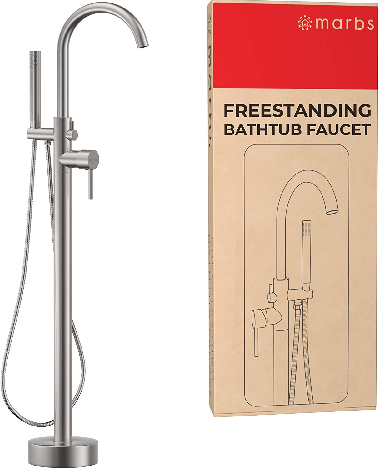 MARBS Freestanding Bathtub Faucet with 360° Spout, Brushed Nickel Freestanding Tub Filler, Brass Bath Tub Faucet with Hand Shower, High 6GPM Flow Rate Bathtub Fillers & Sturdy Mounting Bracket