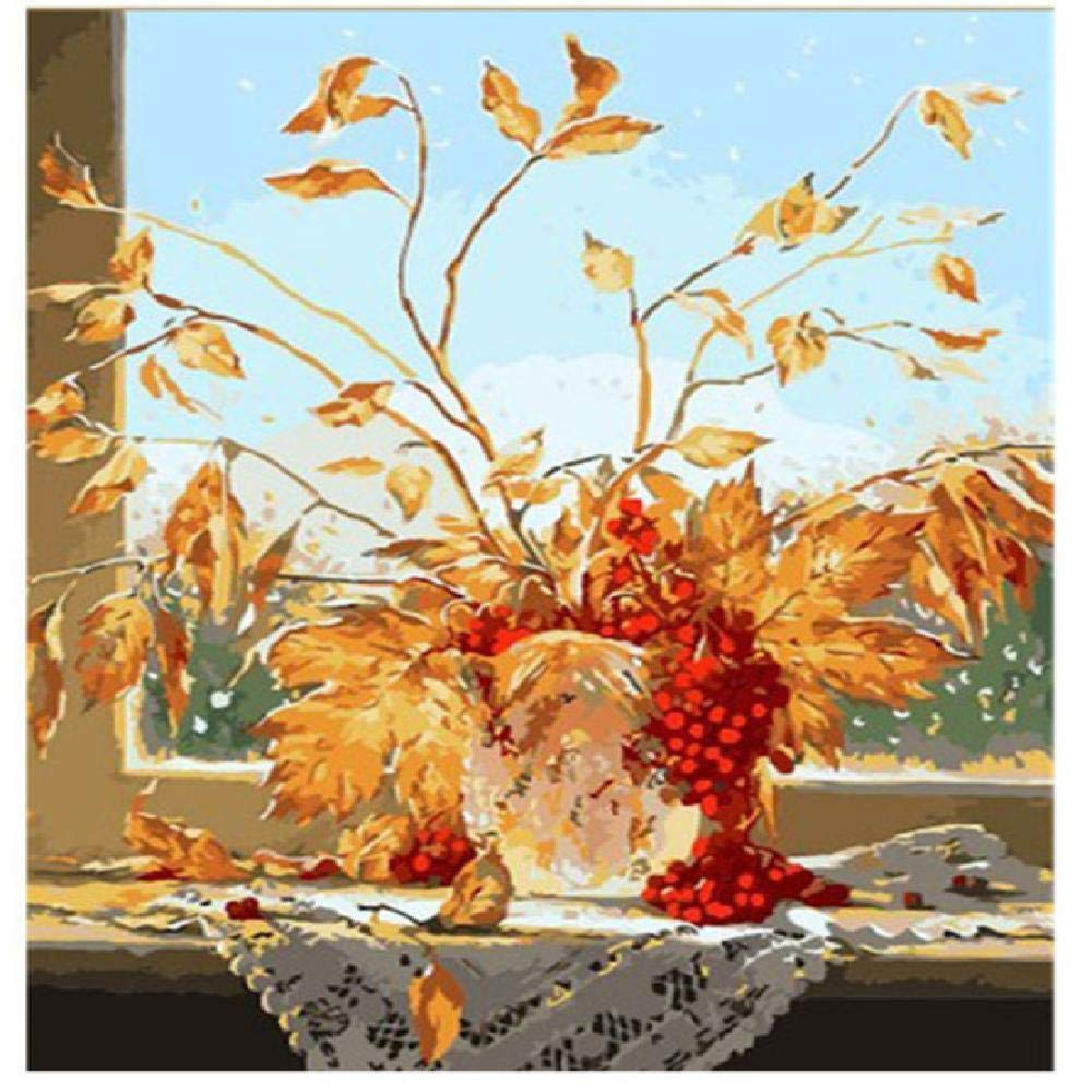 60x75cm  Peintures par Numéros Superbe Fleur Couleurée 60X75Cm Bricolage Peinture à l'huile Linen Toile pour Adultes Les Enfants débutants des Gamins' Jouet numéros Peinture par Décoration Murale
