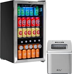 Deco Chef Beverage 118-Can Beverage Refrigerator and Cooler with Glass Door, Digital Temperature Gauge, Cooling Convection Fan, Simple Controls, 3.2 Cubic Feet, with Countertop 40LB per Day Ice Maker