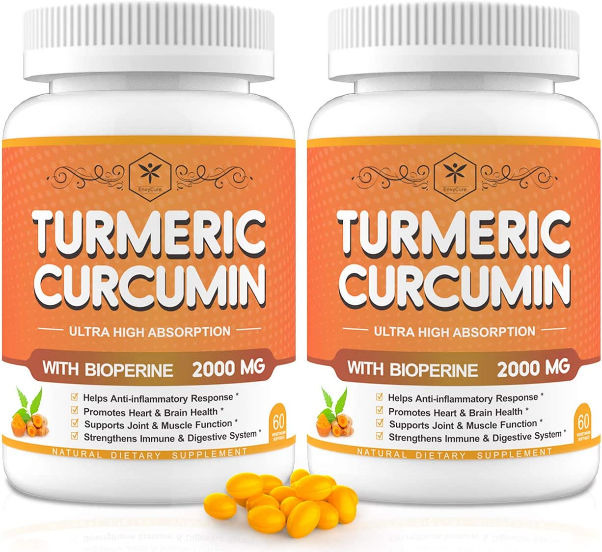 2 Pack Turmeric Curcumin Softgels 2000mg with 95 Curcuminoids Black Pepper – Support Joint Immune Health – Turmeric Ginger Curcumin Supplement for Better Absorption