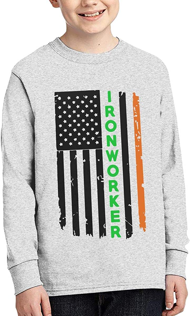 Teenagers Teen Girl Ironworker American Flag Printed Long Sleeve 100/% Cotton T Shirts