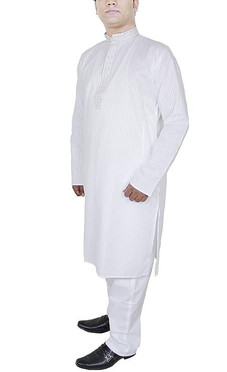 RoyaltyLane Camisa Etnica Hombre Pijama Color Blanco Manga Larga Algodón Vestidos Hombre: Amazon.es: Ropa y accesorios