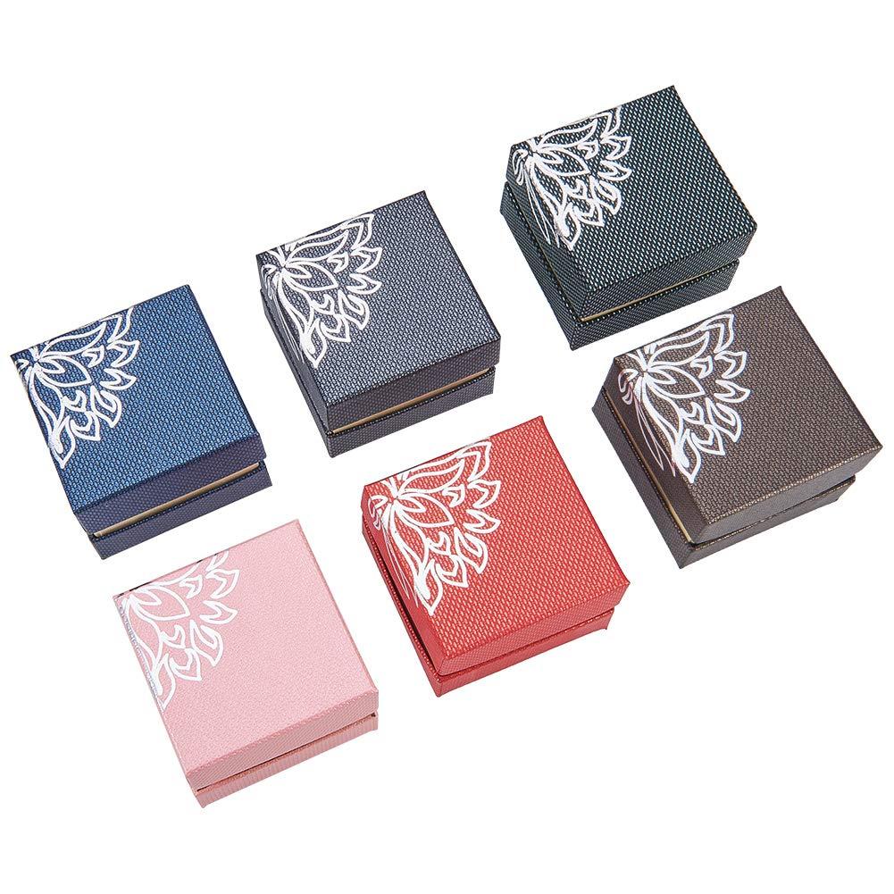 NBEADS 24 Cajas de joyería de cartón con diseño de Flores, Paquete para Regalo de Anillo, Color Mezclado, 5,5 x 5,5 x 4 cm: Amazon.es: Juguetes y juegos
