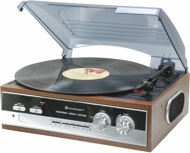 Soundmaster PL186H - Reproductor de vinilos (AM/FM, estéreo, 33/45 ...