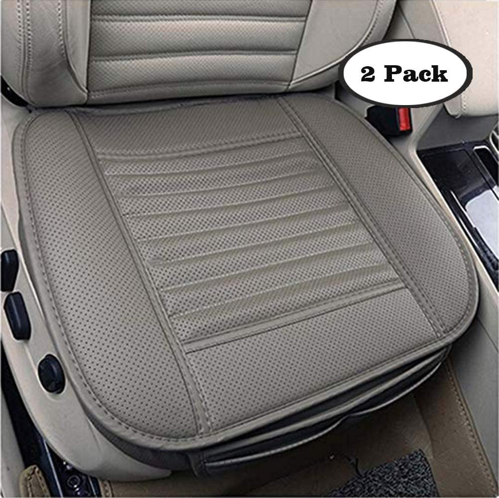 Grey Skysep 2 PCS PU Leather Bamboo Charcoal Breathable Comfortable Car Seat Cover Cushion Pad Mat for Auto Supplies Office Chair Seat Without Backrest