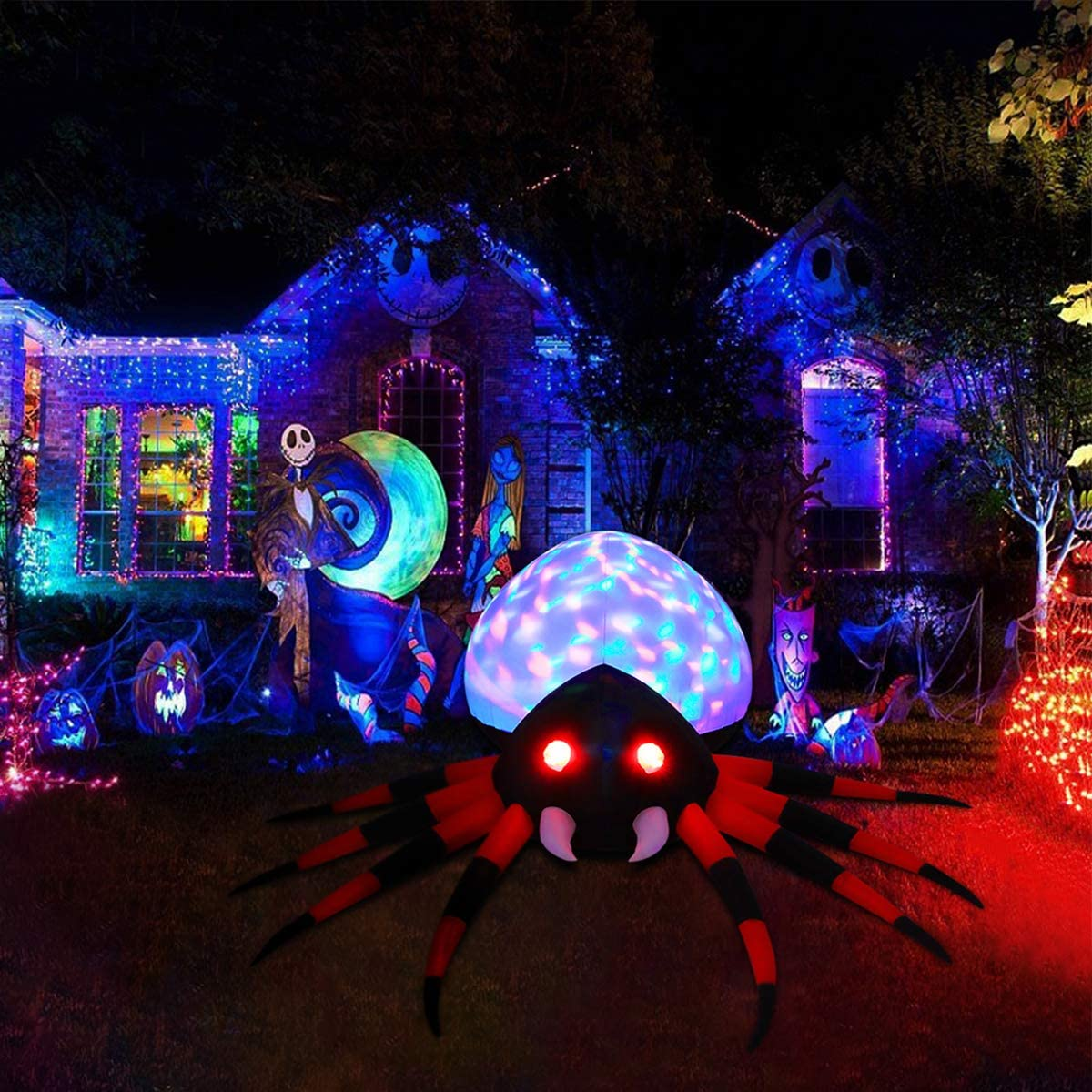 Halloween Inflatable Spider with Colorful LED Lights for Decoration, Lighted Halloween Decor