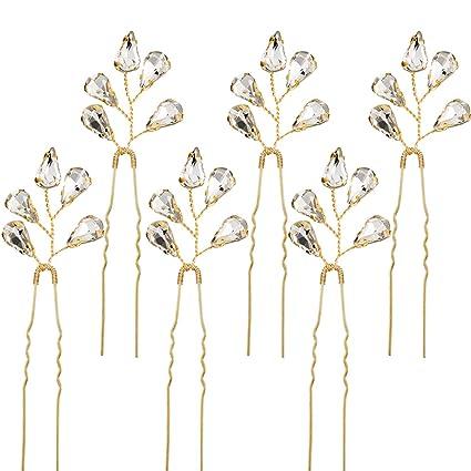 6 Piezas de Horquilla de Pelo de Cristal de Novia Pasadores de Pelo de  Diamantes de 7d89e5fad017