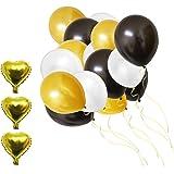 Set Decoraciones Fiesta 105 Piezas Globos de 30,5cm Dorados, blancos y Negros de Látex y Papel de Aluminio por Belle Vous- Cumpleaños, Fiestas de Niños, Baby Showers, Graduación y Celebración de Bodas
